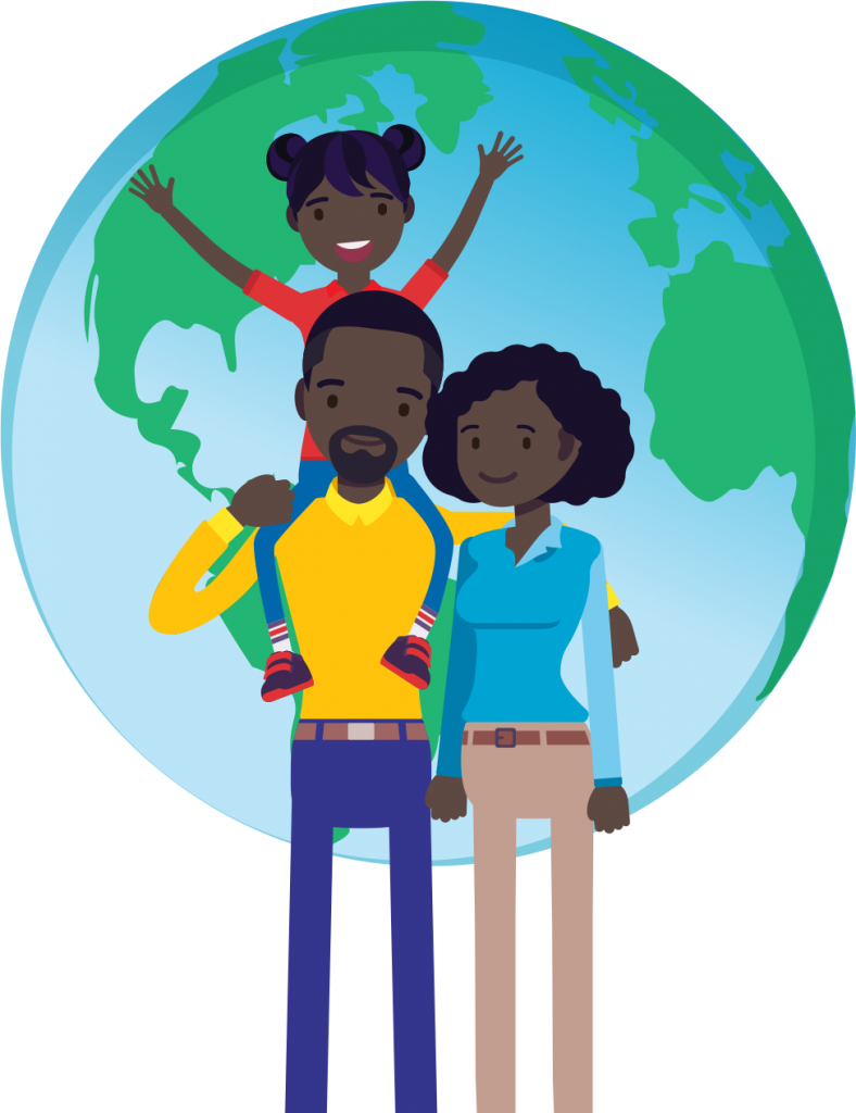 Black family of three in foreground with globe in background